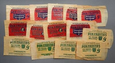 1930's Penn Dairies Pen-Frosties Ice Cream Stick Ad Sleeves - Lancaster PA