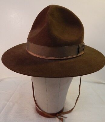 1940's American Boy Scout Campaign Hat, STETSON, Size 6 ¾, Leather Sweatband, A+
