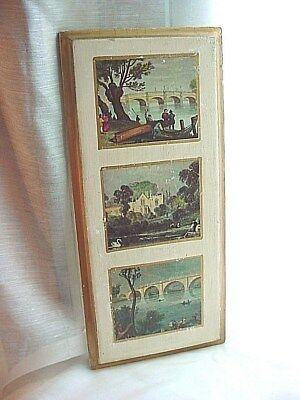 Vtg Italian Old World Picture Wooden Plaque 3 Scenes 5 by 12 inch Florentine