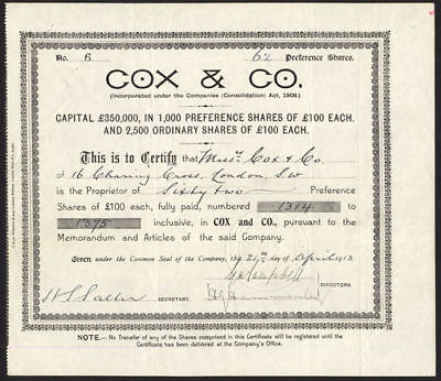 Cox & Co., £100 Preference shares, 1913, bankers to the British Army