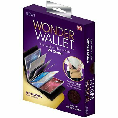 Wonder Wallet - Amazing Slim RFID Wallets As Seen on TV, Black Leather NEW