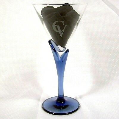 Courvoisier Cognac Glass Blue Stem Martini Cocktail Unleaded Crystal Italy