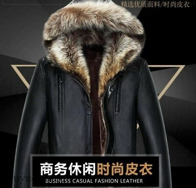Vogue Mens Jacket Real Fur Coat Fur Lined Leather Sheepskin Coats Parkas Hot