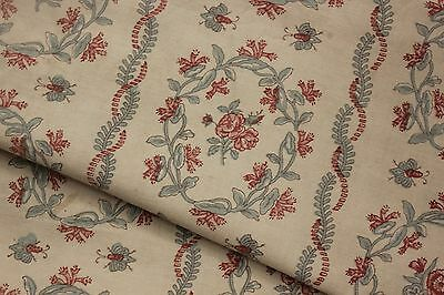 Antique French curtain faded floral + BEE c 1890 bed cover tablecloth  ~ 64 X 90