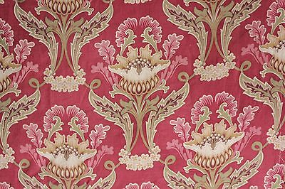 Antique French Art Nouveau printed cotton fabric  RED large scale design panel