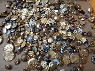 1 Pound Lot Of Metal Vintage New  Sewing Craft Buttons