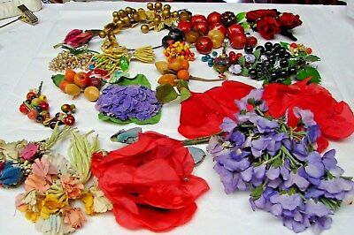 LARGE LOT ANTIQUE VINTAGE MILLINERY HAT EMBELLISHMENTS cotton & glass fruit