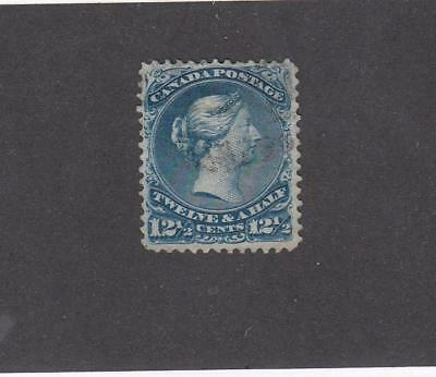 CANADA # 28 FVF-12.5cts BLUE VERY LIGHT USED LARGE QUEEN CAT VALUE $110