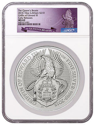 2018 Great Britain 10 oz Silver Queen's Beasts Griffin 10Pn NGC MS69 ER SKU50194
