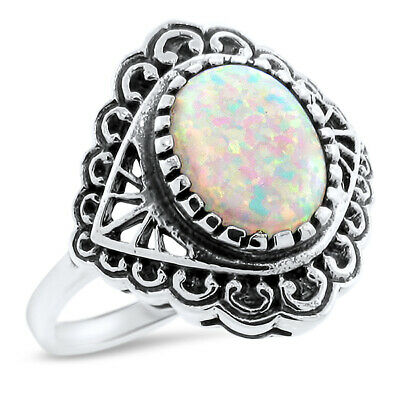 Antique Style Victorian 925 Sterling Silver Cabochon Cut Lab Opal Ring,    #1110