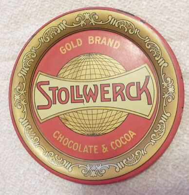 Stollwerck Gold Brand Chocolate & Cocoa Tin Tip Tray, Early, Signed