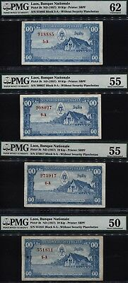 TT PK 3b ND (1957) LAOS 10  KIP PMG 50, 55, AND 62 SET OF FOUR LOVELY BANKNOTES!