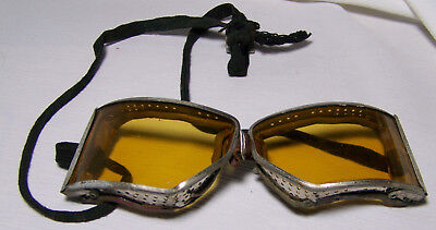 Antique Steampunk Motorcycle Safety Glasses Goggles w/Yellow Lenses VTG Racing