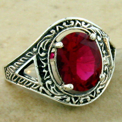 Victorian Antique Style 925 Sterling Silver 3 Carat Red Lab Ruby Ring,     #1111