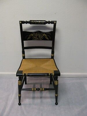 Tell City Decorated Rush Seat Hitchcock Chair 1960's