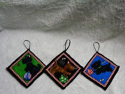 Scotty Scottie Dog Mary Engelbreit Square Ornaments Set of Three
