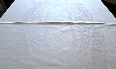 "fine antique linen damask tablecloth 74 x 58"" classic pattern, laddered edge"