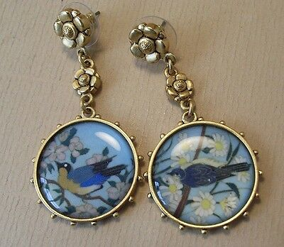 V&A inspired Gold plated Circle Decal Bird Earrings