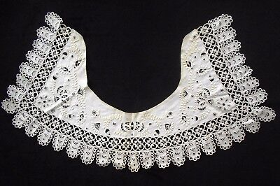 Antique Early 1900s Ivory Needle Lace Collar Cutwork Embroidery