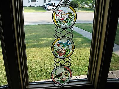 "Stained Glass & Metal Window Hanging Suncatcher  24"" x 6"" Birds  BEAUTIFUL"