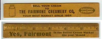 c1920s wood ruler - Fairmont Nebraska Creamery Co - milk can image