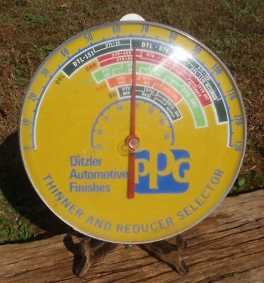 """Vintage Convex Bubble 12"""" THERMOMETER Advertising PPG Ditzler Auto Finishes NR"""