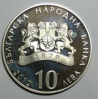 Bulgaria:   Proof 10 Leva 2012. 0.925 Silver. With Coa. Low Mintage 400.