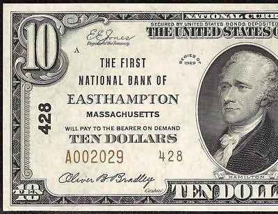 Unc 1929 $10 Dollar Bill Easthampton Ma National Bank Note Currency Money Ch 428
