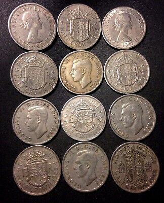 Vintage Great Britain Coin Lot - 12 Great Half Crowns  - Lot #N13