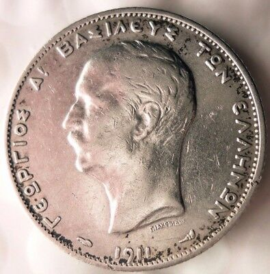 1911 GREECE 2 DRACHMAI - UNCOMMON Vintage Silver Coin - Lot #N13