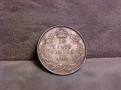 Canada 10 Cents Silver Coin 1910  XF/AU