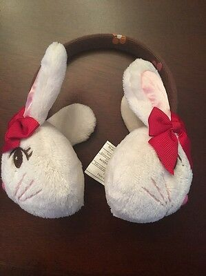 Gymboree Bunny Rabbit Floral Brown Ivory Red Ear Muffs One Size 2 4 5 6 7 8 9