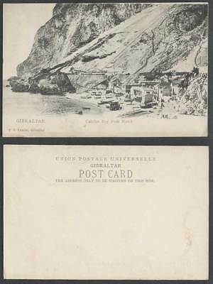 Gibraltar Old U.B. Postcard CATALAN BAY from NORTH Beach Boats Houses V.B. Cumbo
