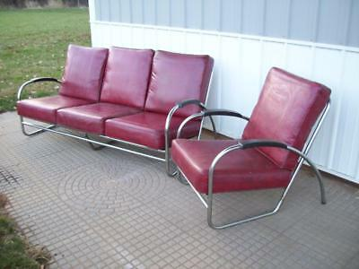 Wolfgang Hoffman ROYAL METAL Steampunk Red Vinyl Chrome Art Dec Couch Chair Set