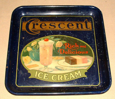 1925 Crescent Ice Cream Rare Metal Soda Fountain Serving Tray