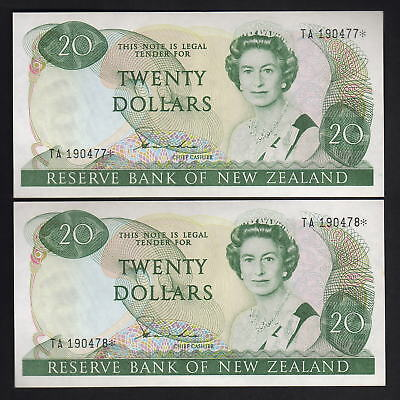 New Zealand  P-173aS. (1981-85) $20 - Hardie Type-11. Star Note. UNC-CONSEC Pair