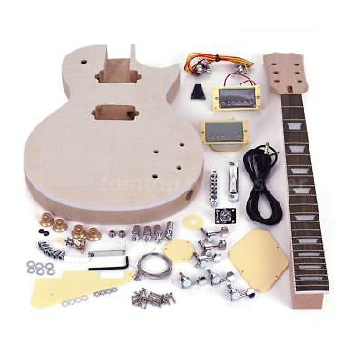 Unfinished LP Style Electric Guitar DIY Kit Top-Solid Mahogany Body Neck Gift