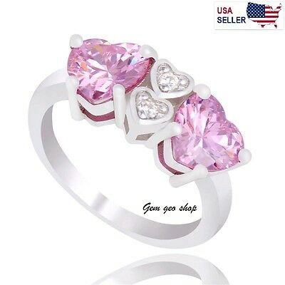 925 Sterling silver stamped pink heart love women cubic zircon ring size 7
