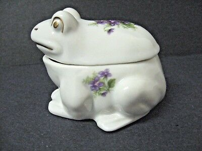 LEFTON frog trinket box porcelain MARKED sticker