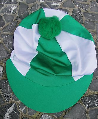 Riding Hat Silk Skull cap Cover EMERALD GREEN & WHITE With OR w/o Pompom