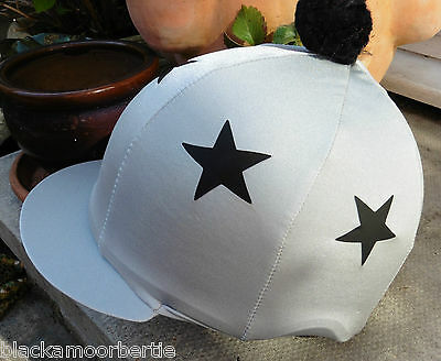Riding Hat Silk Skull cap Cover SILVER GREY & BLACK * STARS with OR w/o Pompom