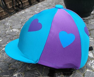 Riding Hat Silk Skull cap Cover TURQUOISE & PURPLE *  HEARTS With OR w/o Pompom