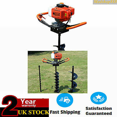 52cc Petrol Earth Auger Post Hole Borer Ground Drill with 3 Bits + Extension Bar