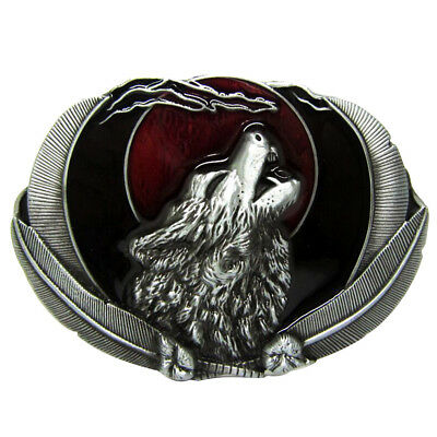 Western Vintage Silver Howling Wolf Coyote Cowboy Antique Belt Buckle