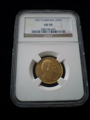 1837 Great Britain William IV Gold Sovereign - NGC AU50