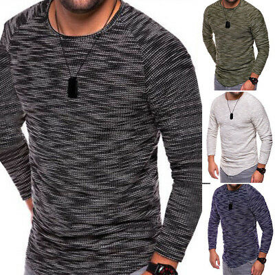 Men Long Sleeve Casual O-Neck Fashion Knit Sweater Pullover Knitwear Jumper Tops