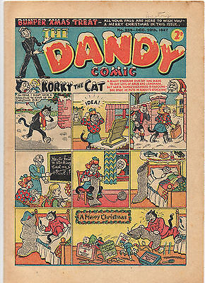 THE DANDY COMIC DEC 20th 1947 CHRISTMAS #359 KORKY BLACK BOB DESPERATE DAN VG/F