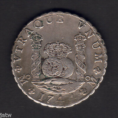 Mexico. 1744-MF 8 Reales - Pillar Dollar..  VF