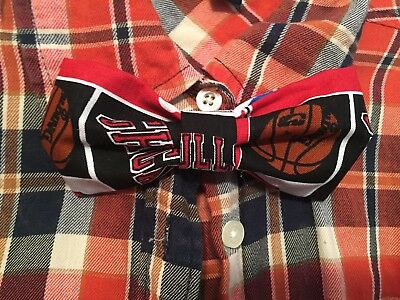 New Handmade NBA Inspired Bow Tie Fits All Ages - Clip On - Chicago Bulls