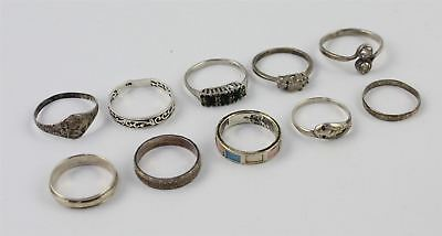 Collection of 10 x STERLING SILVER Mixed Rings inc. Band, Snake, Stone Set - 18g